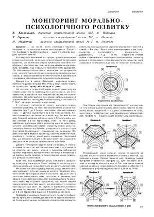 Журнал «Практична психологія та практична робота» Моніторинг розвитку